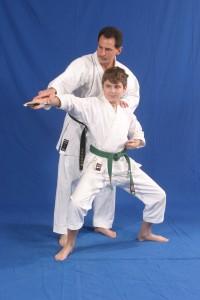 Alex practicing sai as a green belt!